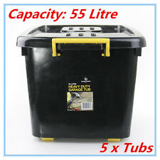 5 x HEAVY DUTY Large Plastic Storage Containers with Lid Boxes Bins Tubs 55L