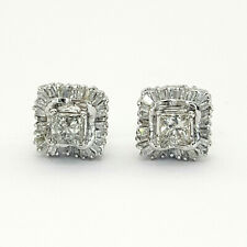 Ladies Earrings 10ct (417,10K) White Gold (1.55ct) Square Diamond Earrings