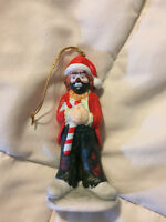 VINTAGE FLAMBRO KELLY JR HOBO CLOWN WITH CANDY CANE PORCELAIN ORNAMENT
