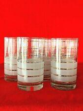 """Vintage SET of 8 Highball Juice Beverage Glasses FROSTED WHITE & GOLD 5"""" ❤️sj3j"""