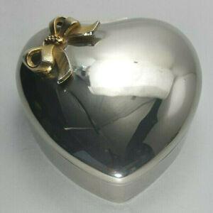 Vintage Heart Shaped Silver* Plate Jewelry Box & Genuine Pearl* Ladies Bracelet