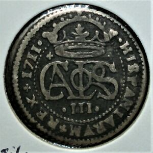1711 Silver 2 Reales Coin from the Principality of Catalonia, Spain - Carlos III