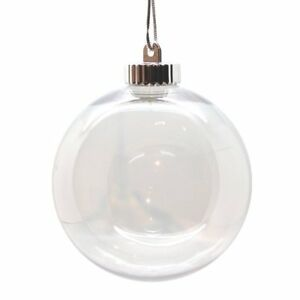 150mm Clear Baubles Seamless Plastic Glass Style Screw Top Craft Christmas Decor