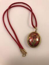 "Vintage Cloisonne Enamel Flower Locket Pendant Necklace Red Silk Cord 18"""