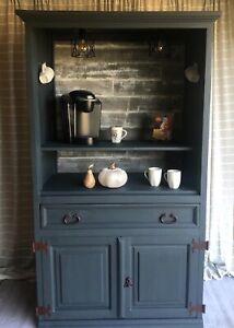 cabinet coffee/drink bar beautiful refurbished with plug in lights!
