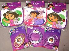 DORA THE EXPLORE Bibs (3) Teethers (3) Ages 0-18 M Cotton/Poly Lot of 6 Items BN