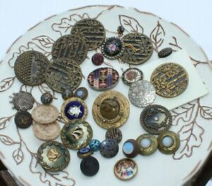 ANTIQUE Assorted Buttons WONDERFUL VARIETY  Lot L #A