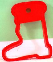 """Plastic SANTA BOOT Cookie Cutter RED 3 ¼"""" x 2 ¾"""" with HOLE for HANGING or GIFT"""