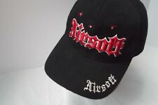 Airsoft 6mm black one size cotton baseball cap hat red Embroidered logo MINT