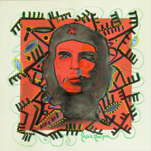 "MARIA MURGIA ""Che Guevara"" CM 30X30 pezzo unico dipinto su cartoncino"