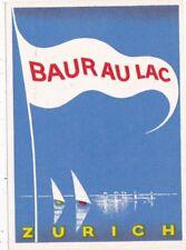 Switzerland Zurich Baur Au Lac Vintage Luggage Label sk4231