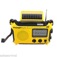 Yellow Kaito KA500 Voyager Solar Crank Battery Survival Radio AM FM Shortwave