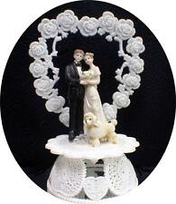 White Poodle dog Bride Groom Wedding Cake Topper top puppy pet Heart funny