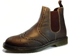 Mens Leather Belper Brogue Derby Dealer Boots Size 6-12 Black Brown Tan Bordo
