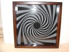 Handmade Art Sandblast Black Hole Swirl  Lighted Display  Gift  Curio