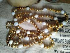 "Vintage Christmas Mercury Glass Beads Garland Gold w White Balls String 64"""