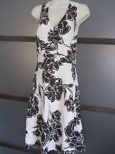 Ann Taylor Dress Sz 2 S XS SILK Floral Brown Cream Elegant Chic Feminine Halter