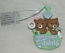 Twice Blessed Twins Ornament Christmas Blue Green Teddy Bears Boy Girl Baby NEW