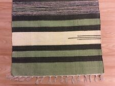 Striped Black Grey Handloomed 100% Cotton Rag RUG Durrie Mat 60x90cm 2x3 50%OFF