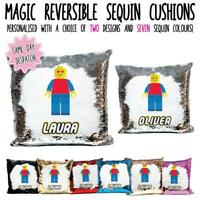 Personalised LEGO Figure Magic Reveal Sequin Cushion/Cover