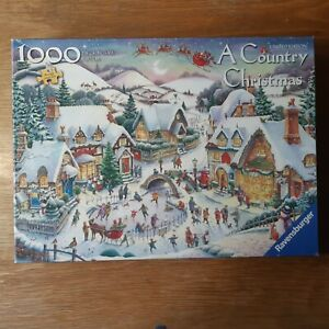 A COUNTRY CHRISTMAS: 1000 PIECE RAVENSBURGER LTD ED JIGSAW GUARANTEED COMPLETE