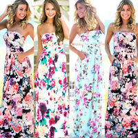 Women BOHO Long Evening Party Strap Cocktail Prom Floral Summer Beach Maxi Dress
