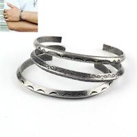 Fashion Sliver Bangle Cuff Bracelet Retro Viking Titanium Stainless Steel Gift