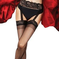 Charnos Boudoir All in One Lace Suspender Tights. Black 100% Polyamide 15 Denier