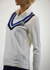 Ralph Lauren White Long Sleeve Chevron Rugby Crest Knit Shirt- NWT- Retail $165.