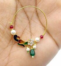 Traditional Rajasthani 20K Gold Nose Ring Nath Bridal Peacock Enamel Design