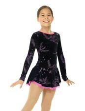 NEW MONDOR Pink Delphinium Glitter Velvet Figure Skating Dress 12934 Adult Small