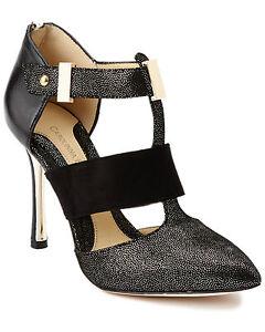NEW Carolinna Espinosa women's Button black leather pump shoes 8 M 8.5 M EU39