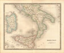 1843 ANTIQUE MAP- DOWER - SOUTH ITALY WITH SICILY, SARDINIA