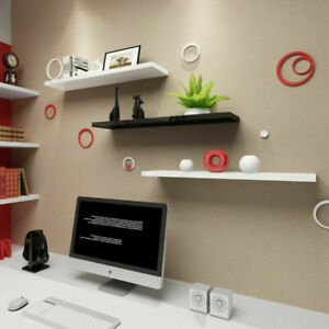 4PCS Wall Floating Shelf Set DIY Mount Storage Book MDF Display Rack Wooden
