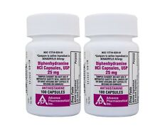 Diphenhydramine 25 mg Generic Benadryl Allergy 100 Capsules per Bottle PACK of 2