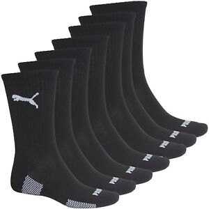 Puma Mens Performance Racing Crew Socks, Running, Tennis, Gym Black White 3 Pair