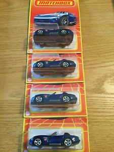 2020 MATCHBOX RETRO SERIES #11 BLUE DODGE VIPER LOT OF 4