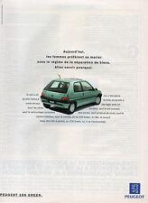 Publicité Advertising 1994   PEUGEOT 106 GREEN