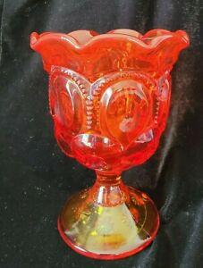 Moon & Stars Amberina Glass Spooner LG Wright Celery Pedestal Base Red Scallop
