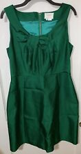Kate Spade emerald green straight fit dress Size 10 silk blend BOW and PLEATS