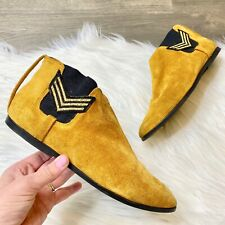 Vintage Abstrax Women's Gold Mustard Suede Ankle Booties Military Inspired Size
