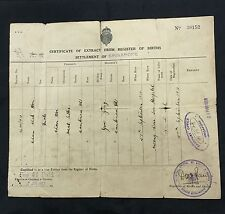 1937 Straits Settlements Settlement of Singapore birth certificate Chinese 华侨