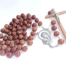Vtg Huge Wall Rosary Wood Carved Italy Pewter Mother Child 5 Decade Collectable