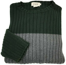 J. Crew Sweater XL Mens Long Sleeve Ribbed Jumper Crewneck Green Thick Size Sz