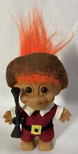 "vtg. Russ Thanksgiving Pilgrim Troll Doll with Muzzleloader 5"" tall"