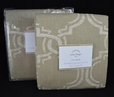 "2 POTTERY BARN AVERY DRAPES CURTAINS PANELS POLE TOP 50 X 84"" NEUTRAL TAN #96"