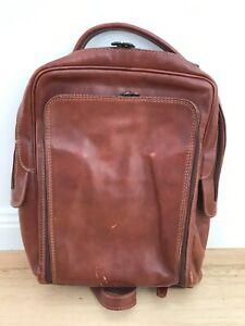 Vera Pelle Made In Italy Italian genuine leather brown backpack bag travel work