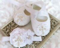 Baby Girl White Christening Baptism Shoes Cross Satin Flower Headband Set