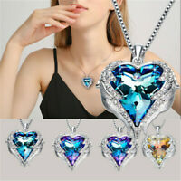 Crystal Heart Angel Wings Pendant 925 Sterling Silver Chain Necklace Womens Gift