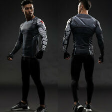 Superheld Marvel Winter Soldier Kompression T-shirt Kurzarm Langarm Gym Kleidung
